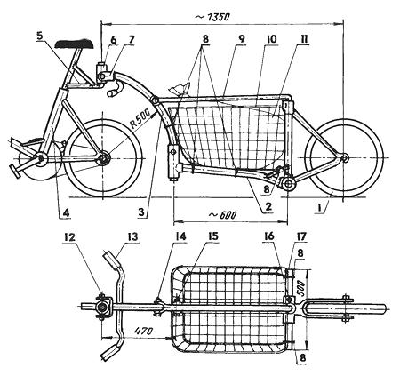 Грузовой велопрнцеп-тачка